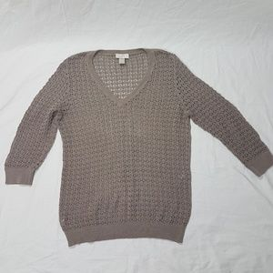 LOFT 100% Cotton Taupe Loose Knit Sweater Size L
